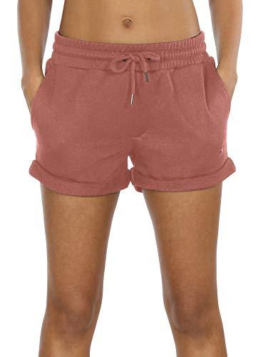 icyzone Damen Shorts Sport Yoga Kurze Hose Sweatpants Laufshorts Baumwolle (M, Dusty Pink) -