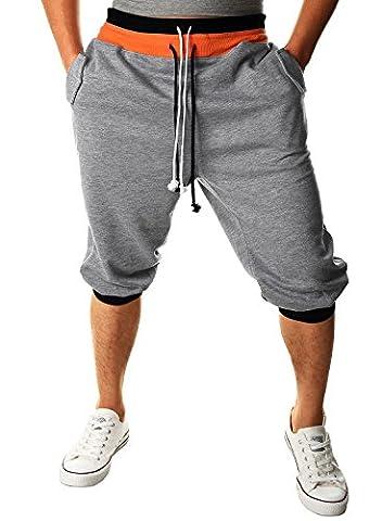 HEMOON Homme Pantalon de jogging/sports Sarouel Short Gris S