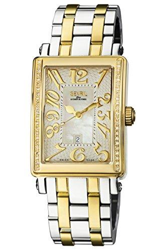 Gevril de la mujer 9544yeb Avenue Ladies Midsize ipyg en dos tonos blanco Dial dos tonos banda reloj.