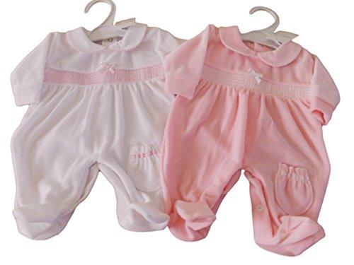 BNWT EXCLUSIVE to Kiddiewinks Premature Preemie Baby girls velour sleepsuit (3-5lbs, white)