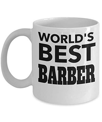 Worlds Best Barber Gifts - Regalos para peluqueras femeninas - Regalos de Navidad para mujer - Taza para peluquero - Taza blanca de 11 onzas - Worlds Best Barber