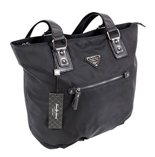 """""""Jennifer Jones"""" Taschen Damen Schultertasche Umhängetasche Shopper aus Nylon für Shopping oder Büro ! Handtasche Tasche groß XL in Trapezform schwarz (2346)"""