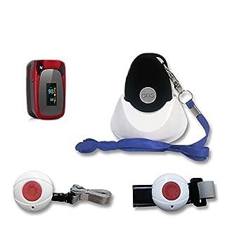 Premium Senioren Notruf-Funk inkl. Kreislauf-Überwachung/für unterwegs und Zuhause/Pflegeruf-Set/Anruf und GPS/inkl. Halsband u. Ladestation/spritzwassergeschützt