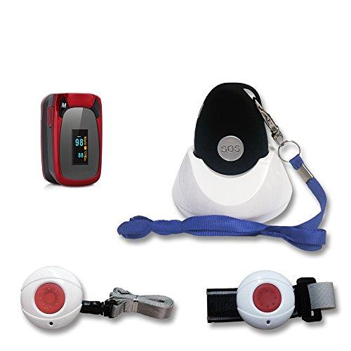 Premium Notruf-Funk inkl. Kreislauf-Überwachung / Senioren Funk System für unterwegs / Pflegeruf-Set / mit Notfallknopf / inkl. Halsband u. Ladestation / spritzwasserdicht
