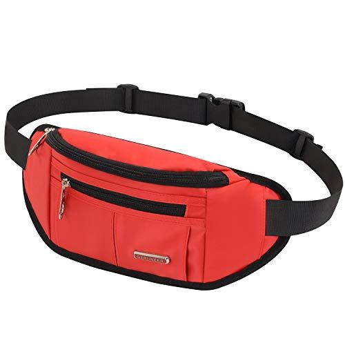 GERIINEER wasserdichte Bauchtasche Hüfttasche für Damen und Herren 3 Reißverschluss Taschen Hüfttasche für Running Reise (Rot)