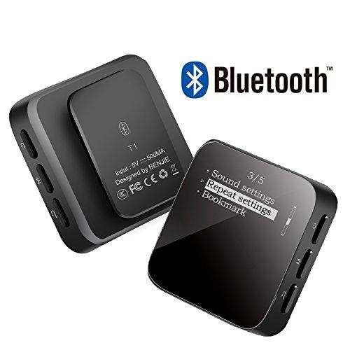 EKOOS   Reproductor de MP3 con Bluetooth, 8 GB, reproductor de música MP3, con clip digital, sin pérdida de sonido, reproductores de MP3 de alta fidelidad con radio FM, grabadora de voz para deportes