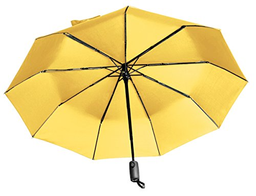 """Lightweight """"Dupont Teflon"""" Travel Umbrella, Virtually Indestructible Windproof Canopy, **Lifetime Replacement Guarantee**, Automatic Open/Close For One Handed Operation, Slip-Proof Handle for Easy Carrying By Repel (Yellow)"""
