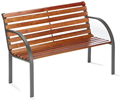 Stahl-Holz Bank Menorca 2-er, 122 cm, anthrazit Brema 053