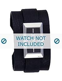 Dolce & Gabbana correa de reloj 3719040031 Cuero Negro + costura negro(Sólo reloj correa - RELOJ NO INCLUIDO!)