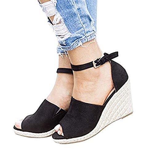 Shelers Damen Keile Schuhe Espadrilles Absätze Knöchel Gurt Fallen Sommer Sandalen (39 EU, Z-Black)