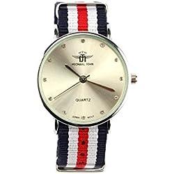 Michael John Damen-Armbanduhr Armband Stoff blau und rot Milana