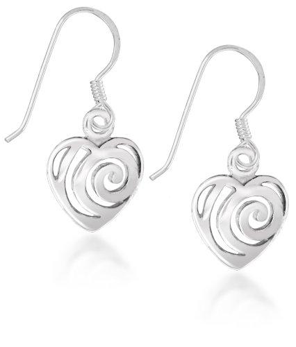 Tuscany Silver Ohrhänger Sterling Silber Geschnitten Swirl Herz International Silver Swirl