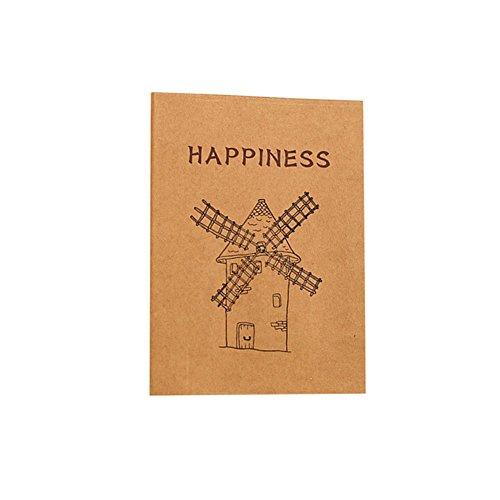 cosanter Einband Mini 80uni-Seiten Kraft Cartoon Muster Notebook für Zeichnen Malen. 112.5x9cm Windmühle