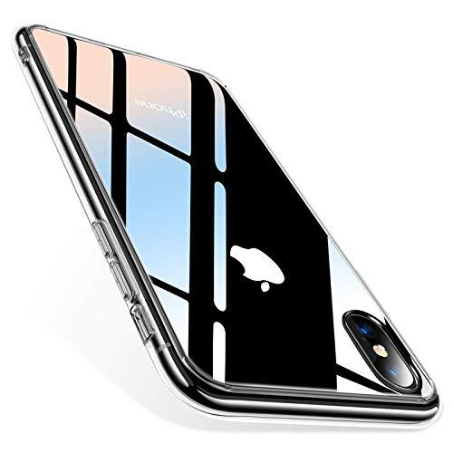 TORRAS iPhone X Hülle [Nur für iPhone X], Original Transparent Schutzhülle [9H Panzerglas Rückseite & Silikon Rand] Hybrid Hardcase Stoßfest Kratzfest Handyhülle Dünn Case für iPhone X - Klar