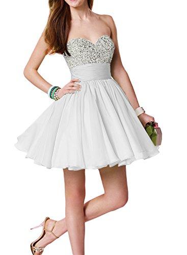 Gorgeous Bride Zaertlich Mini Traegerlos Empire Chiffon Paillette  Abendkleider Kurz Cocktailkleider Ballkleider Weiß