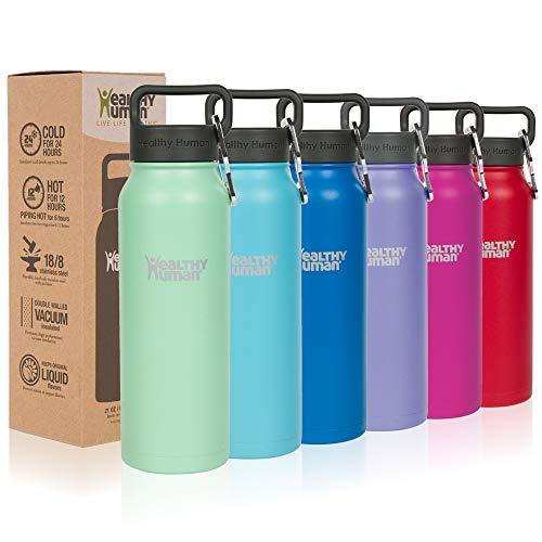 Healthy Human Isolierte Edelstahl Trinkflasche, Thermosflasche, Doppelwandig, Vakuumisoliert, 620 ml, Sea Mist