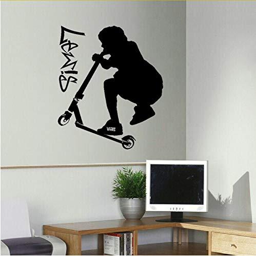 Lvabc Große Personalisierte Stunt Scooter Teenager Schlafzimmer Wandkunst Aufkleber Transfer Decal Diy Tapete 80X68Cm