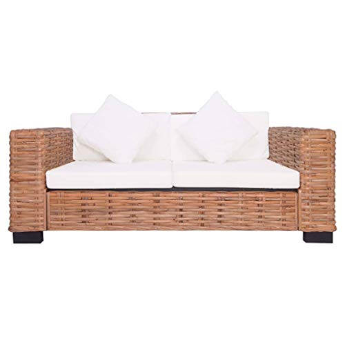 Tidyard 2-Sitzer Gartensofa Natürliches Rattan Garden Sofa 2-Seater Seat Cushion Rattan Sofa Armchair Garden Chair Lounge Sofa Garden Furniture Garden Furniture Set Natural Rattan
