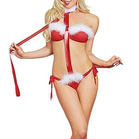 Bekleidung Loveso Underwear Damen lingerie Rot Kragen Peitsche Unterwäsche Bodysuit Weihnachten Christmas Party (Square Pants Kostüm)