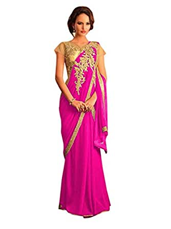 Clickedia Faux Georgette Saree (Saree Style Gown - Pink_Pink)