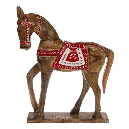 DESIGN DELIGHTS DEKO HOLZPFERD Amigo   Holz, 47 cm, rot/Weiss lackiert   Pferde Skulptur