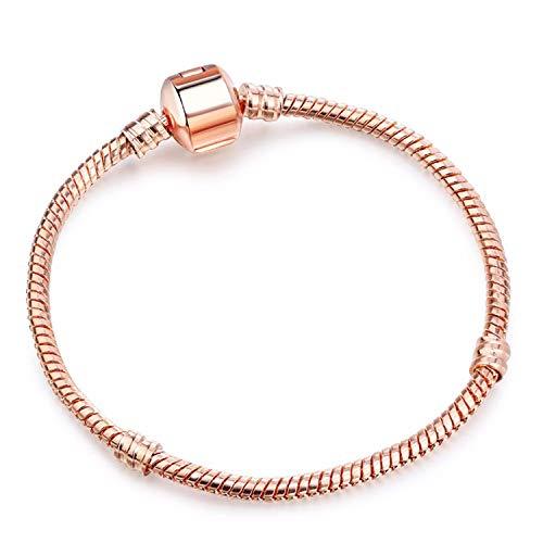 Bracelet Bracelet, Bijoux Cadeau, Vintage Silver Plated Charm Bracelet European Style Snake Chain Fit DIY Fine Bracelets for Women Jewelry Type 3 21cm