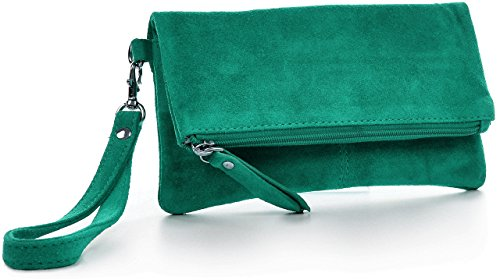 CNTMP, Borsa da Donna, Clutch, Pochette, Borsetta da Sera, In Pelle Scamosciata, Con Tasca in Pelle (SMALL), 21x12x2,5cm (L x H x P) verde smeraldo