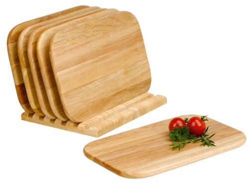 Mäser, Schneidebretter und Brettchenständer, 7-teilig, Hackbrett aus hellem Holz - Holz-frühstücks-set
