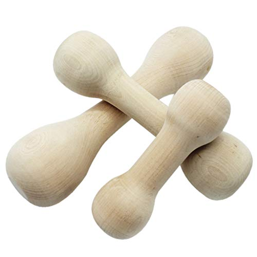 Amphia - Dauerhafter echter hölzerner Hundekauen-Knochen-Spielzeug für Hunde, Safe und Hantel(M)
