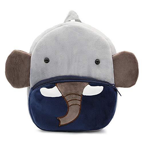 Zaino per bambini, INRIGORIO 3D Elefante zaino giocattolo animale dei cartoni animati per bambini Borsa breve peluche carino piccolo zaino per ragazze (Elephant)