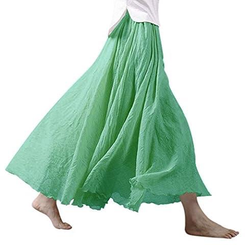 Nlife Frauen böhmische Baumwolle Leinen Double Layer elastische Taille langen Langer RockMaxi Rock- Gr. 95CM, Matcha Green