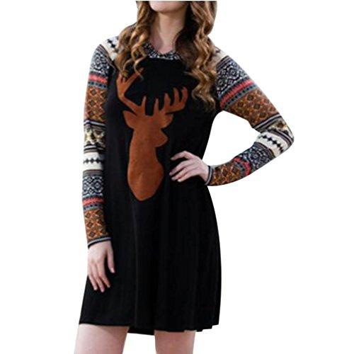 Reasoncool Donna Autunno Inverno Natale Renna vestito stampato con cappuccio splicing (L-Busto:37.8