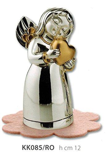 Statuina angelo cuore kikke h cm12 con feltrino celeste inserti dorati laminato argento made in italy
