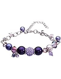 9e02a6911a6 Blue Pearls Pulsera Charms Cristal de Swarovski Elements y Perlas Purpura -  Cry E184 J