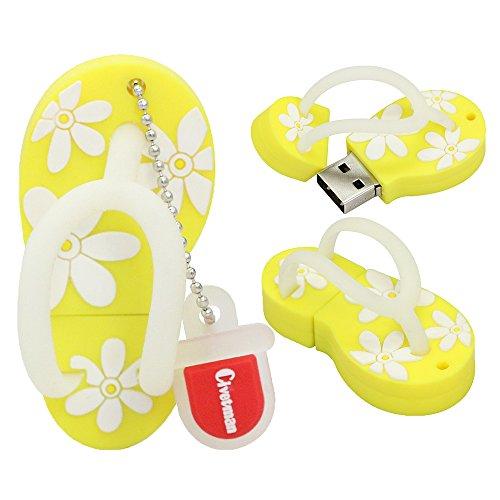 16GB Blitz-Antriebs-Pantoffel-Gelb-Schuh-Form-USB 2.0 Neuheit-Pendrive-Gedächtnis-Stock-Datenspeicher-Daumen-Antrieb U-Disketten-kühler Entwurfs-Daten-Speicher für Schulstudenten scherzt Kindergeschenke