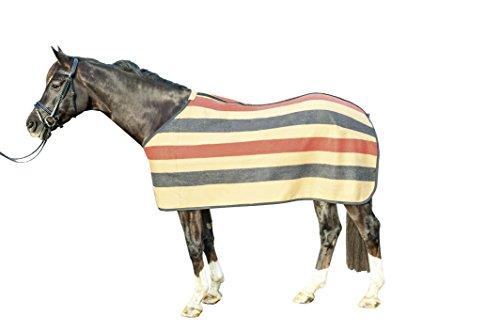 HKM 80151249.0027 Abschwitzdecke Wool Stripes, camel/navy/rot