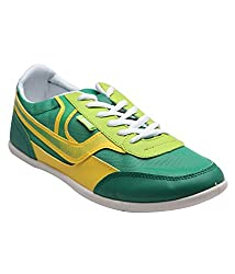 F22-GREEN YELLOW LACE UP CASUAL SHOES FOR MEN