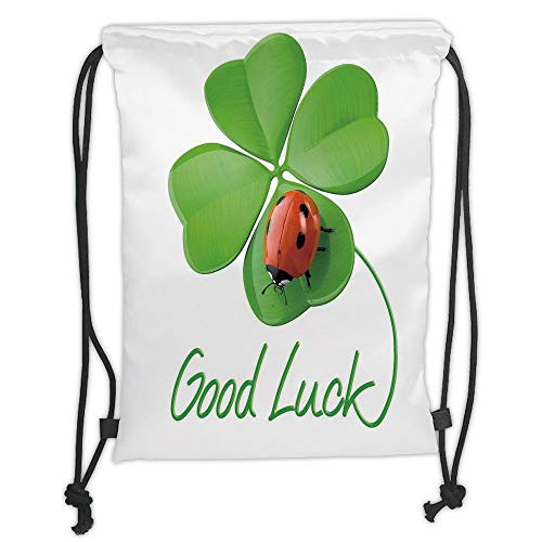 Fashion Printed Drawstring Backpacks Bags,Going Away Party Decorations,Lucky Symbols Four Leaf Clover with Ladybug Irish Charm,Green Red Black Soft Satin,5 Liter Capacity,Adjustable String Closure
