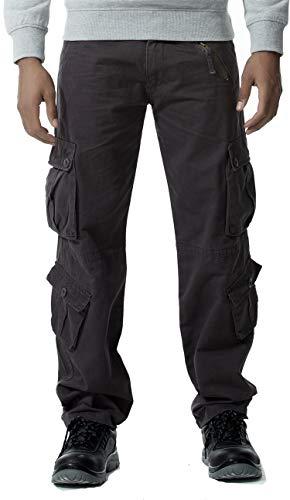 Gmardar Pantaloni Uomo Cargo Pantaloni da Lavoro con Multitasca Tasche Laterali Elegante Cotone 100% Larghi Fit Casual Taglie Forti Pantaloni Militari Estivi Invernali (Grigio, 29W/31L)