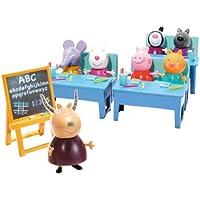 Peppa Pig Cole con Amigos Incluye 7 Figuras y 3 pupitres, 30.5 x 17.8 x 12.7 (Bandai 84213)