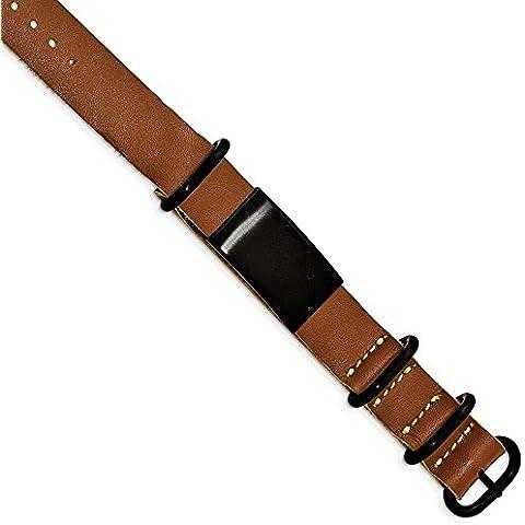 19,8 mm, in acciaio INOX spazzolato, colore: nero-Bracciale ID da uomo in pelle, colore: marrone, Adj. JewelryWeb - Pelle Marrone Id Bracciale
