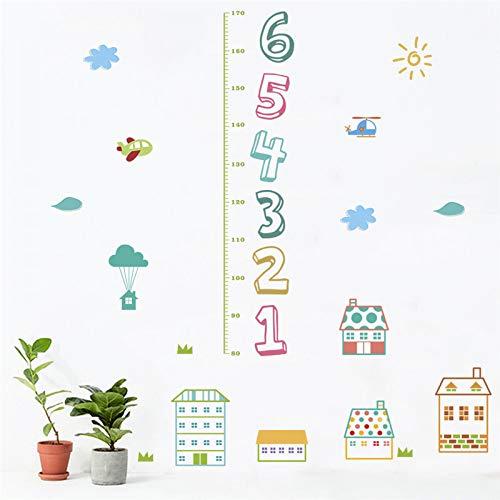 LETAMG Wandtattoos Cartoon Haus Kinder Anzahl Höhe Maßnahme Wandaufkleber Für Kinderzimmer Wohnkultur PVC Wachstum Chart Wandtattoos DIY Poster (Moderne Wachstum Chart)