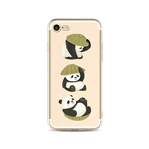 "CoqueiPhone 6S Etui Housse,BoomTeck Coque Pour 4.7"" Apple iPhone 6S/iPhone 6 Silicone Souple Transparente Motif Clear Ultra Mince Anti Choc Anti-rayures Gel TPU Etui Protection Bumper Case Panda Mign 07"