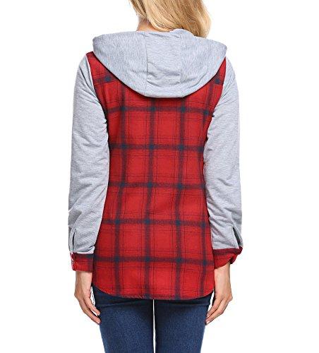 Zeela Damen Herbst Langarm Kariert Hemd mit Kapuze Karo Bluse mit Taschen Rot