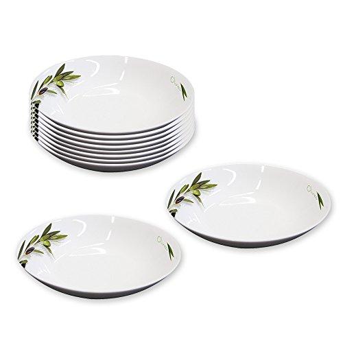 10er SET Suppenteller Ø 20,5 cm GREEN OLIVES aus Porzellan/ppd / Teller Olive Green Teller