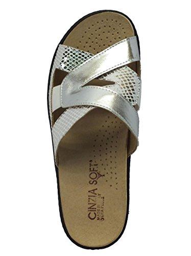 Ciabatte Cinzia Soft in pelle argento plantare estraibile Argento