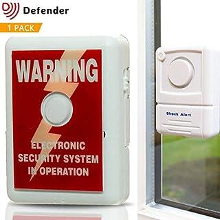 Defender Window Alert Vibration Alarm with Theft Deterrent Sticker - 110dBs Shock Sensor Technology Detect Forced Entry & Smashed Glass