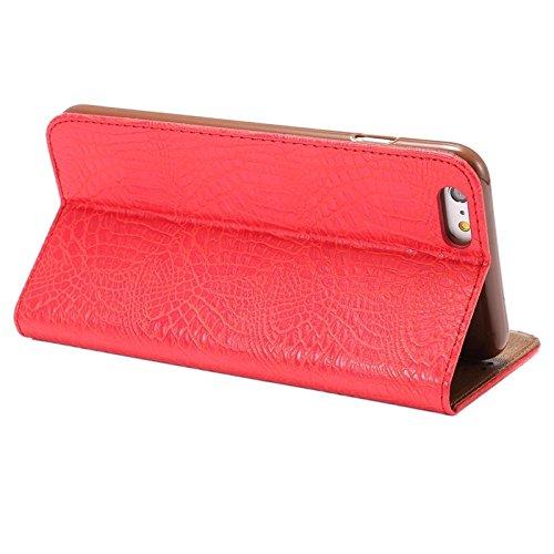Phone case & Hülle Für IPhone 6 / 6S, Krokodil-Beschaffenheits-magnetischer horizontaler Schlag PU-lederner Kasten mit Halter u. Kartenschlitz ( Color : Red ) Red