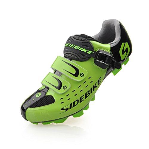 TXJ Specialized Scarpe da Ciclismo MTB per Mountain Bike (Nero-Verde) (Si Prega di Scegliere Una Taglia più Grande del Solito Indossare)