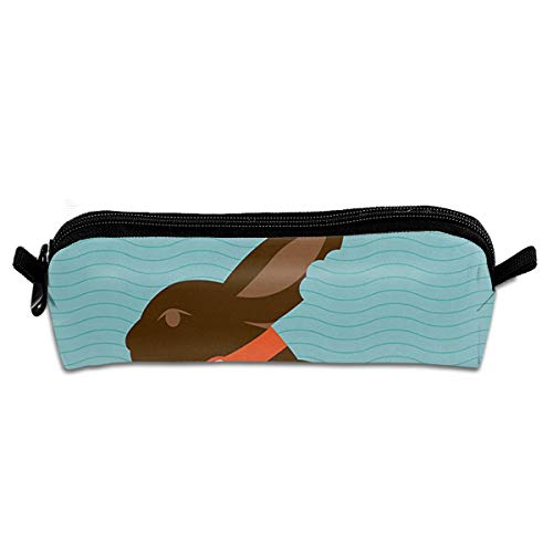 Chocolate Bunny With An Orange Bow Tie On A Wavy Stripes Background Pencil Case Pen Bag Pouch Stationary Case Makeup Cosmetic Bag Stripe Bow Tie